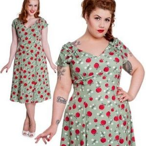 Hell bunny Biden green apple dress 3x pinup retro